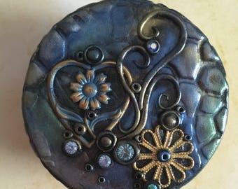 Hand made polymer clay trinket box. Blue Heart