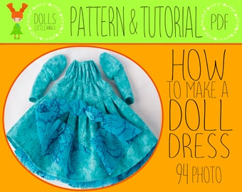 PDF Doll Dress Pattern, Doll Clothes, Doll Sewing Pattern, Dress Pattern, Doll Clothes Pattern,  Doll Clothing, Dress For Interior Dolls