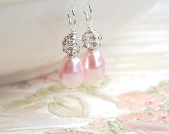 Blush Bridesmaid Gift Earrings Rosaline Swarovski Pearl Bridesmaid Jewelry Earrings Wedding Jewelry Pink Wedding Drop Pearl Earrings ER3352