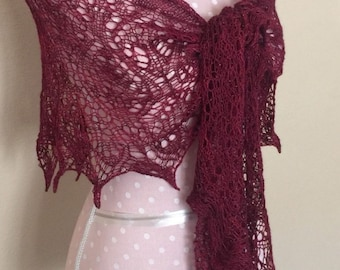 Hand knit red lace beaded shawl
