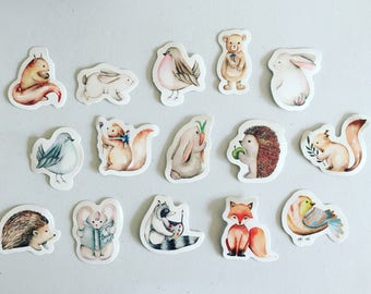 Woodland Animals Stickers, Fox / Hedgehog / Rabbit / Squirrel Deco Stickers, Scrapbooking Stickers, Card Embellishments, Crafting Stickers