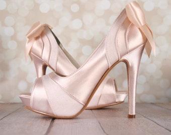 Blush Wedding Shoes, Platform Peep Toe Shoes, Blush Bridal Accessories, Bow Wedding Shoes, Satin and Chiffon Shoes, Custom Wedding Shoes