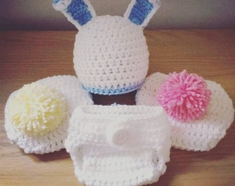 Baby bunny crochet hat and matching nappy/diaper cover set 0-3 months, cute pom pom tail.