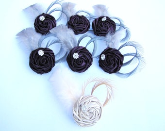 Set of 7 bride & bridesmaids' Fascinators , wedding party hair pieces, choice of color satin rosettes with goose feathers and rhinestones