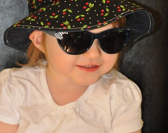 baby, toddler, children's/kids spring/summer reversible cherry/cherries & denim bucket hat