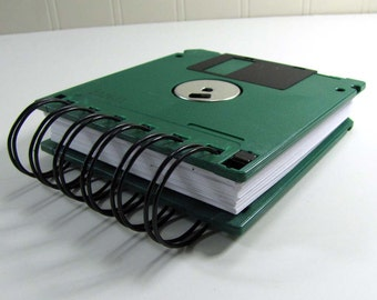 Floppy Disk Notebook JUMBO Forest Green Computer Disk Recycled Geek Gear Blank Mini 125 sheets