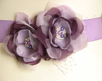 Lilac purple bridal sash Lilac wedding sash Purple sash Lilac purple clips Purple wedding clip Lilac wedding dress Purple dress Lilac dress