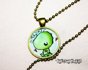 """Rawr Dino 1"""" Pendant Necklace - or 2 for 20 - Happy cute kawaii baby dinosaur t-rex - ReLove Plan.et"""