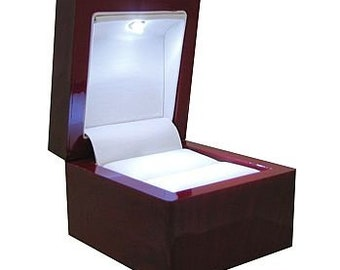 Light Ring Box Mahogany Look Led Ring Box  Ideal For Engagement -Wedding -Anniversary -Valentine -Birthday