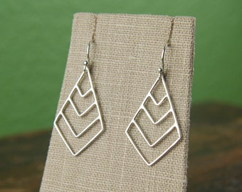 Chevron pendant earrings in sterling silver, fashion earrings, everyday casual, triangle earrings, chevron jewelry
