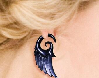Fake Gauge - Dark Angel Wings - Tribal Earrings, Cheaters, Split, Expanders, Fake Plugs, Organic, Eco Friendly, Handmade, Black Horn - H20