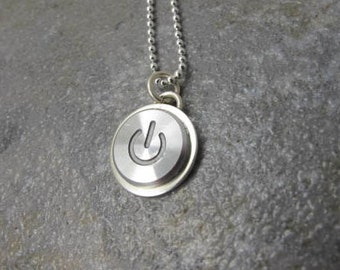 Power Up Silver - PENDANT ONLY, Sterling Silver Handmade Recycled MAC Power Button Necklace, gift, anniversary, birthday, wedding