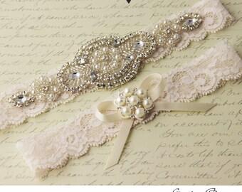 Ivory Lace Wedding Garter, Wedding Garter Set, Rhinestone Garter, Ivory Garter, Bridal Garter Set, Keepsake Garter, Toss Garter