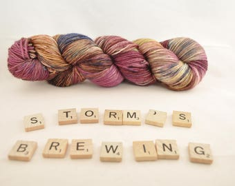 """Hand-dyed yarn, """"Storm's Brewing"""" variegated, soft and squishy yarn. Great for socks or shawls. 80/20/ Superwash wool/Nylon"""