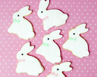 6 Easter Bunny Cookies, Easter Bunny Biscuits, Easter Cookies, Easter Biscuits, Easter Favours, Fondant Cookies, Easter Gift, Edible Gift