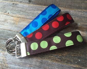 Key Chain Wristlet - Key Fob - Polka Dot Key Chain