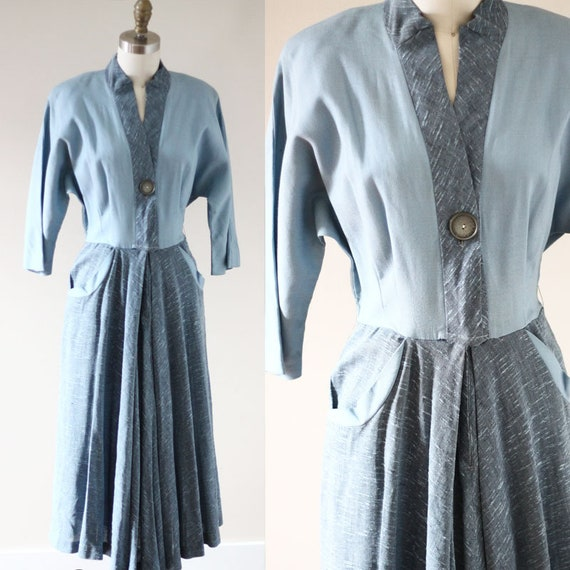 1950s blue shirt dress // 1950s blue dress // vintage dress