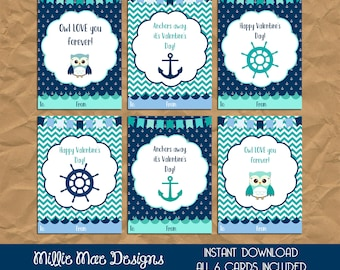 INSTANT DOWNLOAD - Blue and Turquoise Nautical Owl Valentine's Day Cards