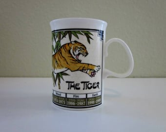 Vintage Ming Shu Chinese Astrology Mug by Dunoon Fine China, England - Year of The Tiger Coffee or Tea Mug - Chinese Astrology and Elements
