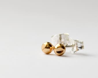Tiny Gold Stud Earrings - Mini Everyday Geometric Gold Earings - Simple Cut Out Second Hole or Cartilage Stud by Hook And Matter in Brooklyn