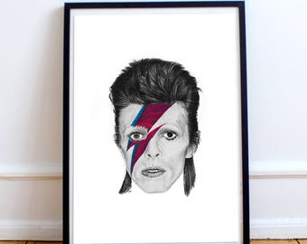 Bowie pencil drawing - poster