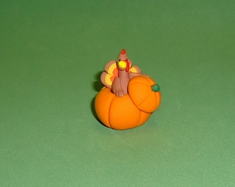 Polymer Clay Turkey in Pumpkin