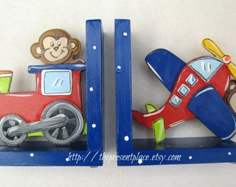personalized,Royal blue train bookends,airplane bookends,peek a boo monkeys,kids bookends,boy's bookends,children's bookends,train bookends