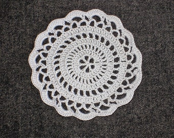 "New Handmade Crocheted ""Elegance"" Coaster/Doily in Silver"