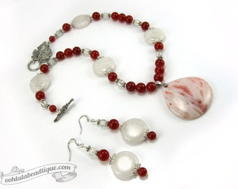 White Red Jewelry Set birthstone necklace earrings set red jade necklace red necklace earrings jade jewelry holiday gift for her giftunder50