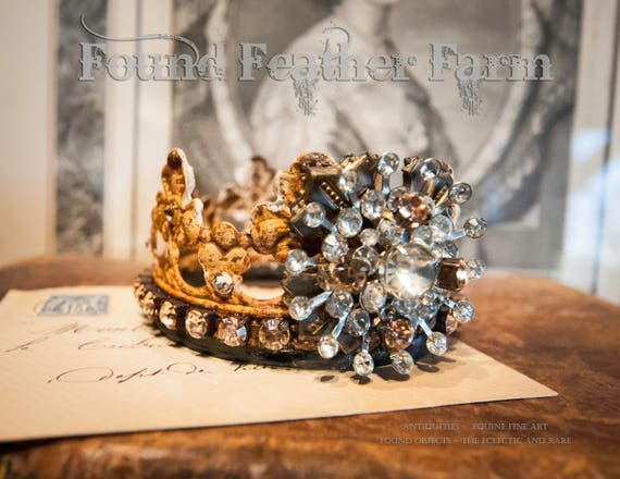 Handmade Rusted Tin Crown with Vintage Brooch and Peach Rhinestones