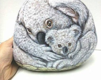 Koala Bears- Mother and her Twins- OOAK-  EXTRA LARGE Rock Art- by Shelli Carriveau. Free Shipping