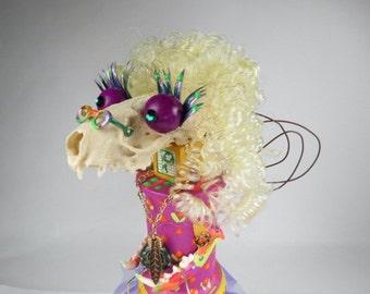 "Creature Doll, ""Frannie Flowerchild"", 1960's, Bonehead, Assemblage Art Doll, Mink Skull Art Doll"