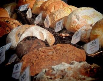 Food Photograph - New York Bread Market  - Kitchen Art Decor - Bakery Art - New York Bread - French Bread - Irish Bread....Bread Photograph