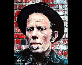 "Print 11x14"" - Tom Waits - Portrait Blues Rock Jazz Experimental Piano Smoking Drinking Pop Art Beatnik Vintage Poetry Drunk Bukowski"