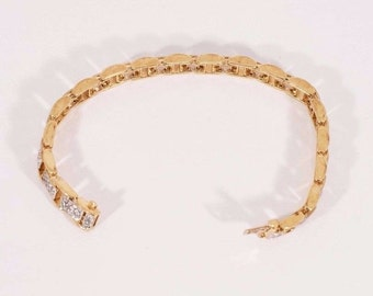 "14K Yellow Gold 3 ct. tw. Diamond Tennis Bracelet w/144 Stones 7"" long, 23.7 grams"