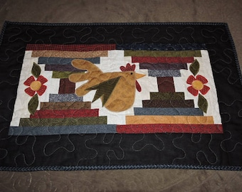 """Quilted Runner with Courthouse Steps and Appliqued Chicken and Prim Flowers   19"""" x 30"""""""