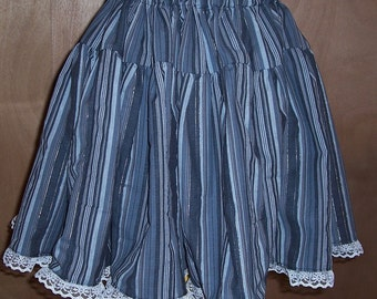 Pin Stripes Punk Gothic Lolita Gray Lace Twirly Knee Length Skirt-Adjustable Waist-Gift