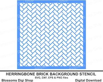 Herringbone brick stencil background svg cut file, digital download, pattern stencil eps vector, herringbone svg stencil, brick svg