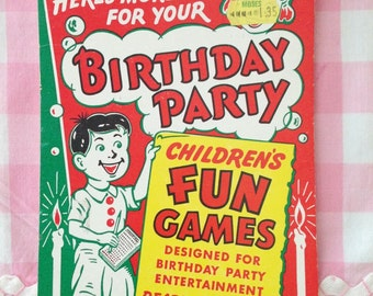 Vintage Birthday Party Fun Games Tablet 1960s