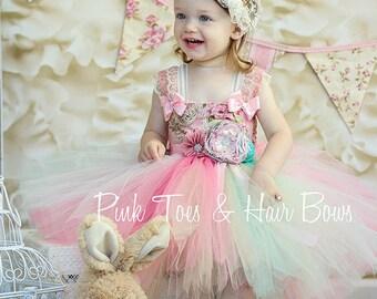 Tea Party Dress-Tea party tutu dress-vintage dress- Ivory mint and pink vintage dress