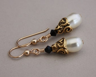 Classic Swarovski Cream and Jet with 14K goldfilled pierced earwires by EarthsOpulence