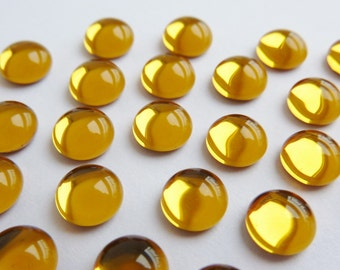 10 glass cabochons, Ø6mm, topaz, round