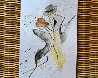 Tango 1. Watercolour dance art. Original not print, painting. 12cm x 21cm.