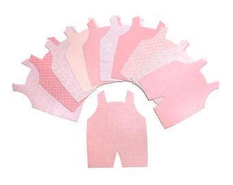 20 Pink Overalls Die Cuts - Baby Girl Card-Making Supplies - Cute Pink Jumpers - Die-cuts for Papercrafting & Scrapbooking - Pink Girl Mix