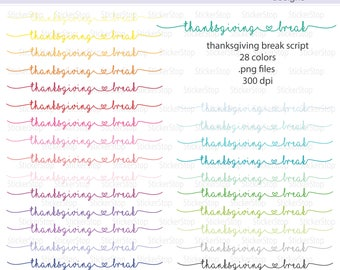 Thanksgiving Break Script Icon Digital Clipart in Rainbow Colors - Instant download PNG files