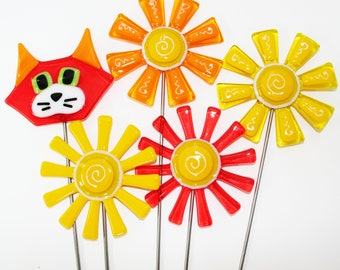Glassworks Northwest - Orange and Yellow Cat, Flower and Daisy Plant Stakes - Fused Glass Garden Art