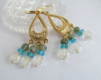 Gold and Crystal Earrings, Chandelier Earrings, Glass Bead Earrings, Blue Lagoon, Crystal Dangle Earrings, Ornate Earrings, FTD Awareness