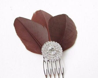 Chocolate Brown Feather Fascinator Hair Comb Silver Diamante 1920s Vtg Clip 2355