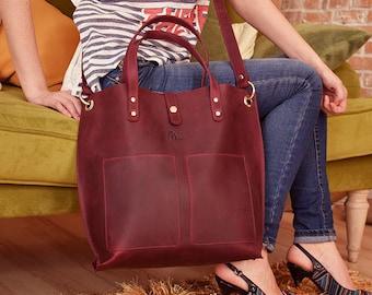 Large leather bag, Large tote bag leather, Burgundy leather bag, Women's leather tote, Leather shoulder bag, Tote bag, Leather Crossbody bag