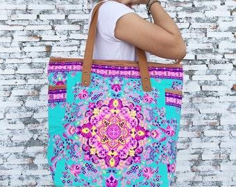 Weekender Bag Summer Large Tote Canvas bag Colorful Neon Printed Canvas Tribal Hobo Hippie bag Weekender bag Beach bag Boho Bag Beach Purse.